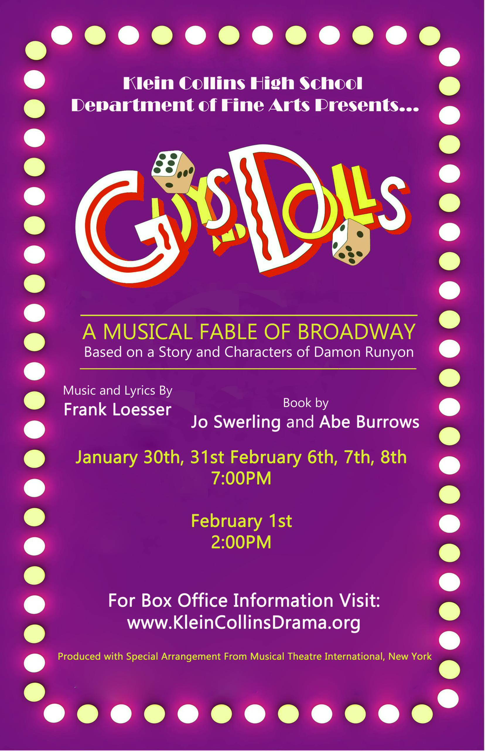 Guys and Dolls Final Show Poster and Social media